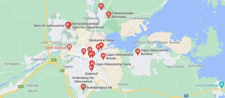 Här får du vård i Gävle